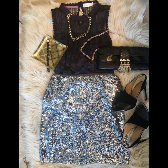 a7b1c7840a79 White House Black Market Skirts | Whbm Silvergrey Sequin Mini Skirt ...